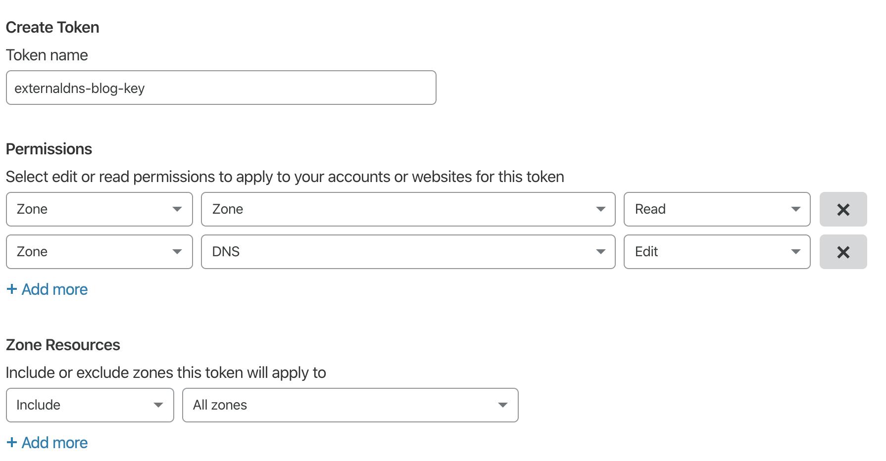 Capture d'écran de l'interface de création de Jeton d'API CloudFlare