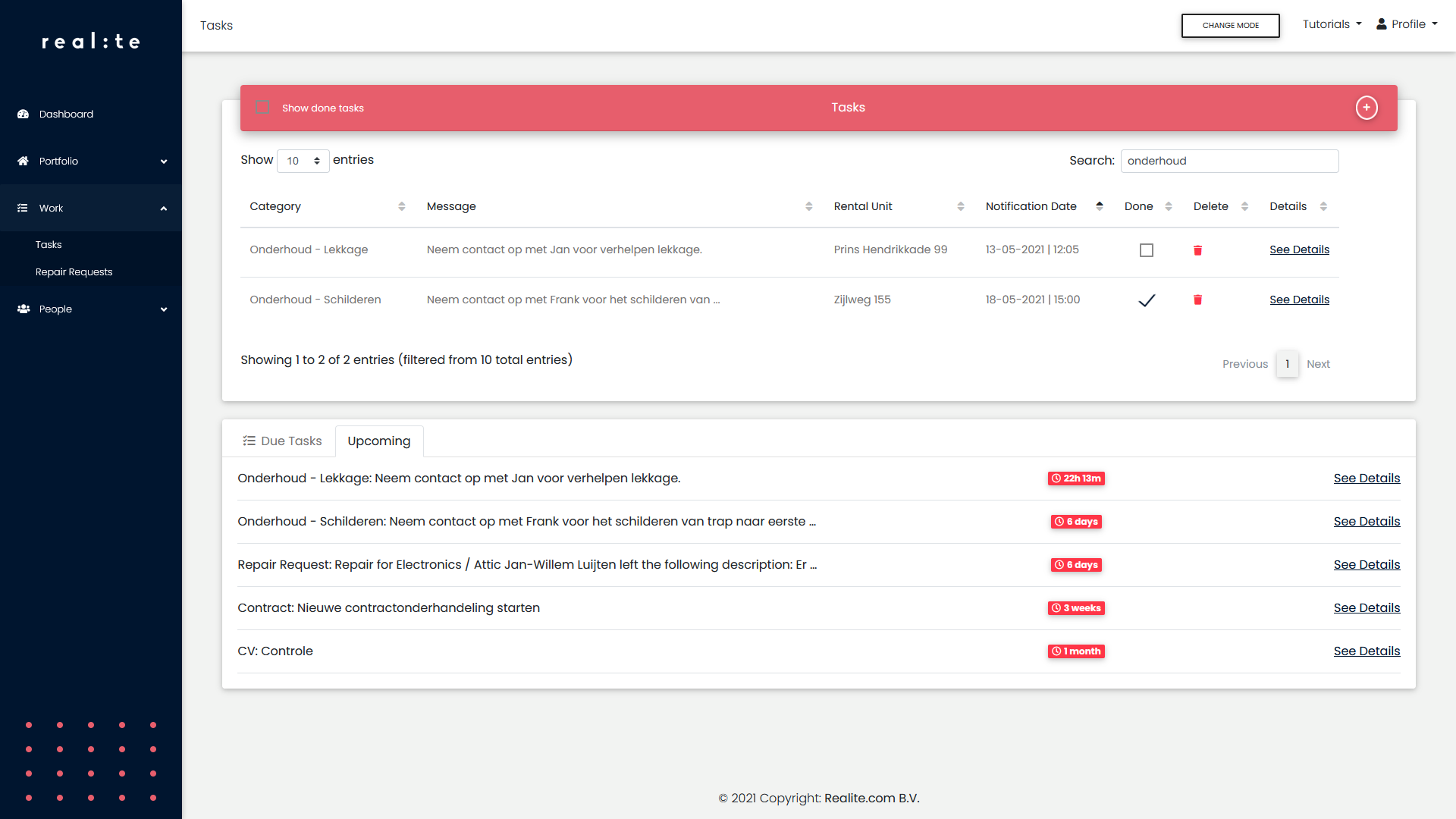 Realite page showing an overview of tasks