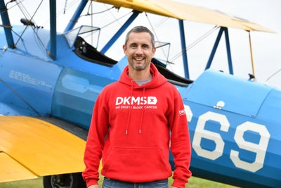 Peter McCleave in front of the aircraft