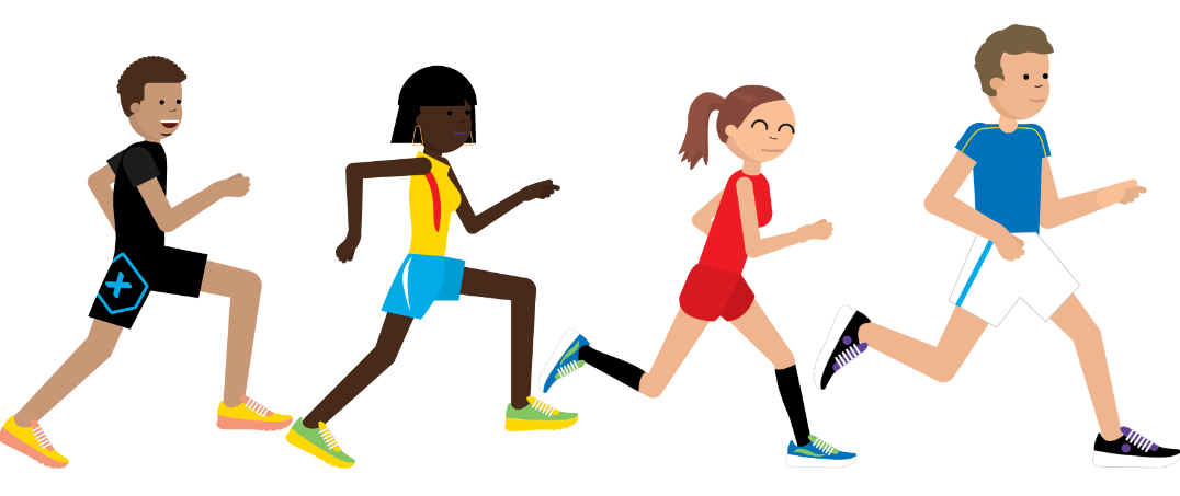 Graphic of 4 people running