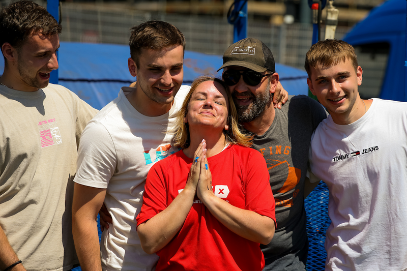 DKMS ambassador & social media influencer Sally Hurman celebrates bungee triumph with husband Gavin and their sons