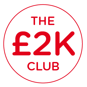 """A red circle with """"The £2K club"""" written inside"""