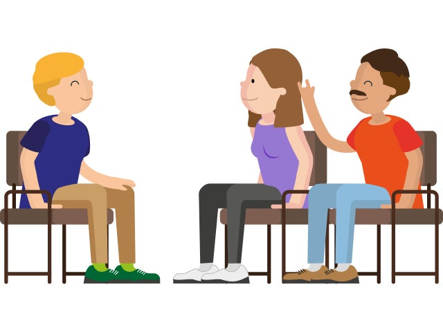A graphic showing three people sat down having a conversation