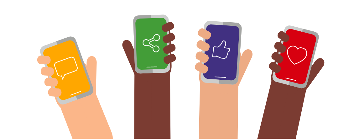 A graphic showing 4 hands, each holding a phone with a different social sharing icon displayed.