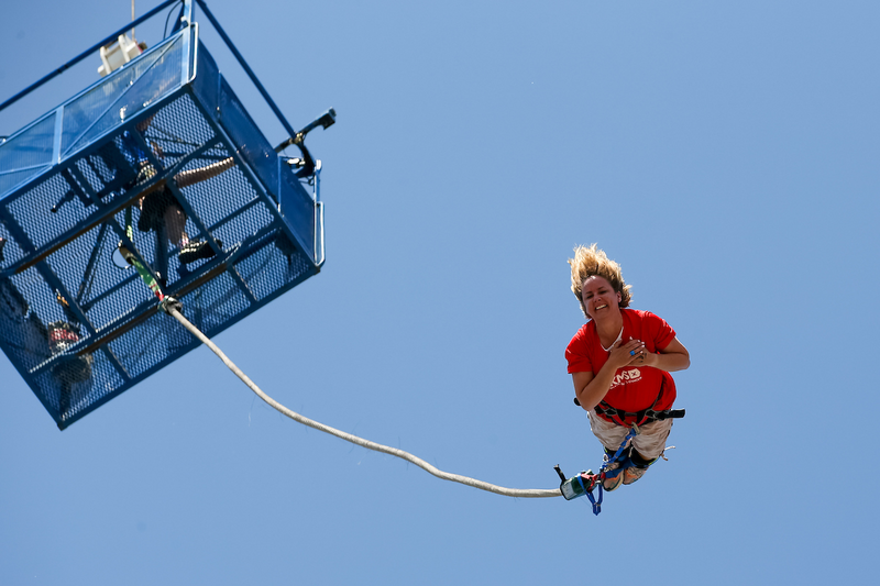 Sally Hurman bungee jumps 160ft for blood cancer charity DKMS