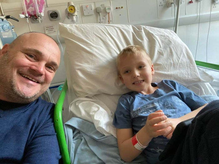 Al Murray with his nephew Finely, who is in a hospital bed