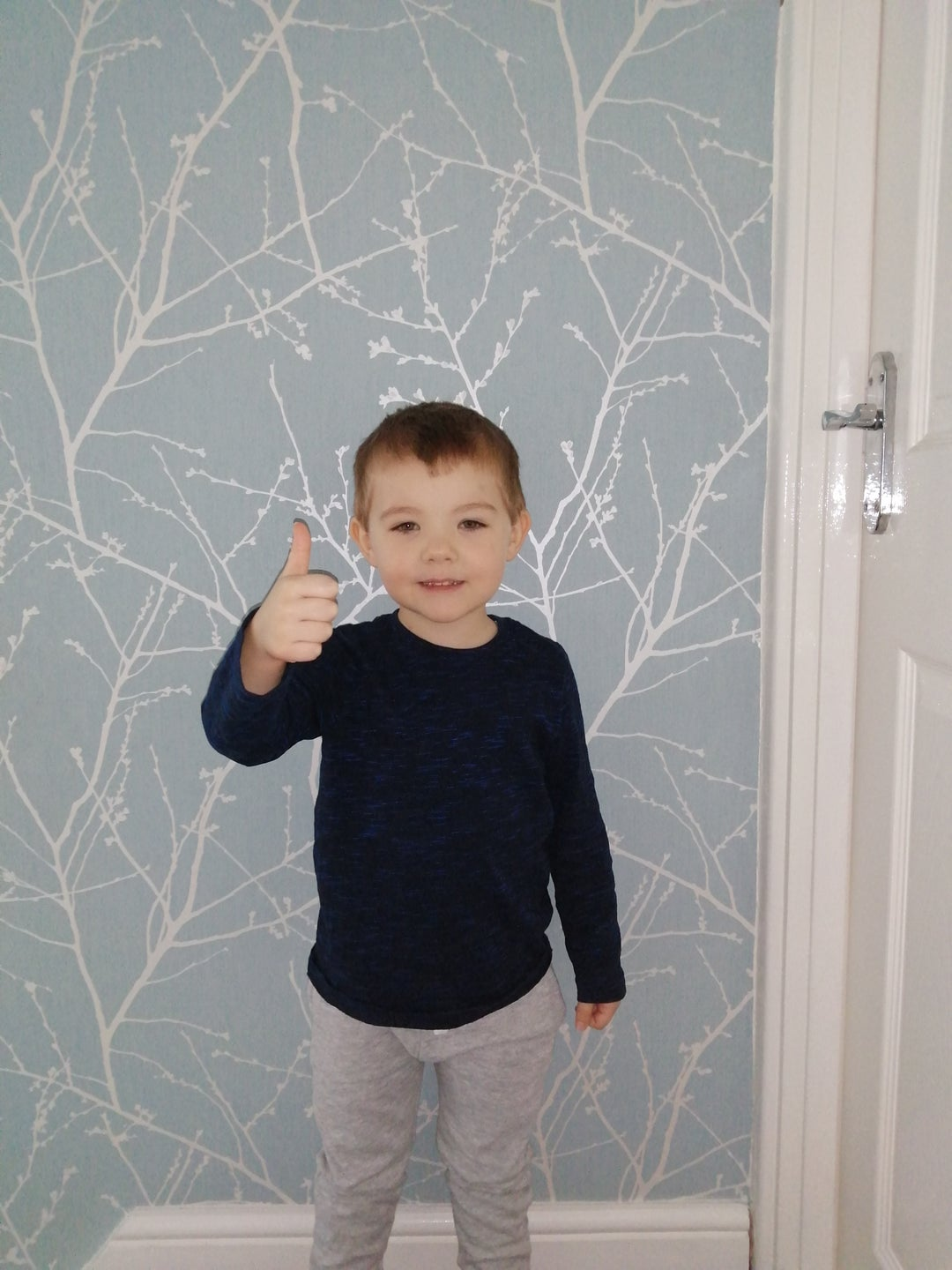 4 year old Emmett is standing with his right thumb up, he is smiling and looking at the camera, there is patterned wall paper in the background