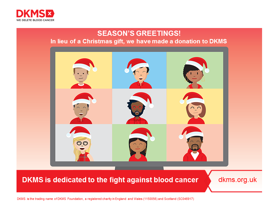 A graphic showing a zoom call with people in santa hats
