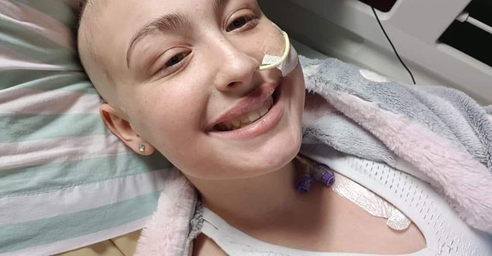 Adelle in hospital during her treatment