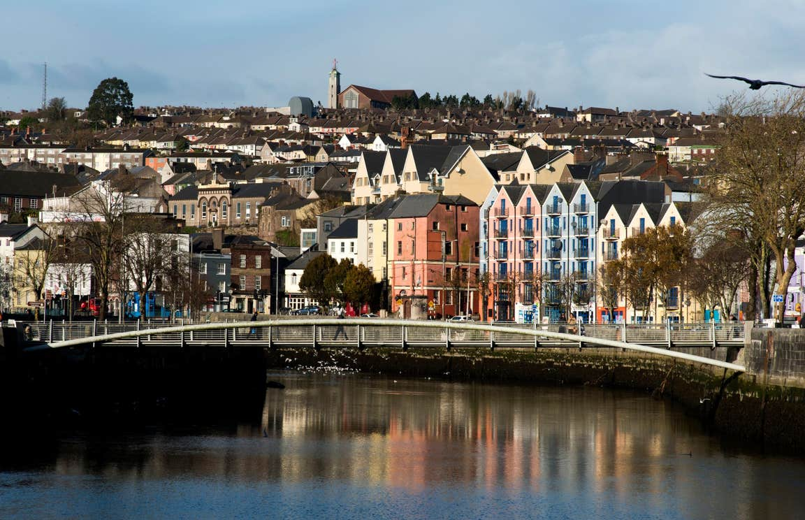 Colourful houses behind Shandon Bridge, Cork City