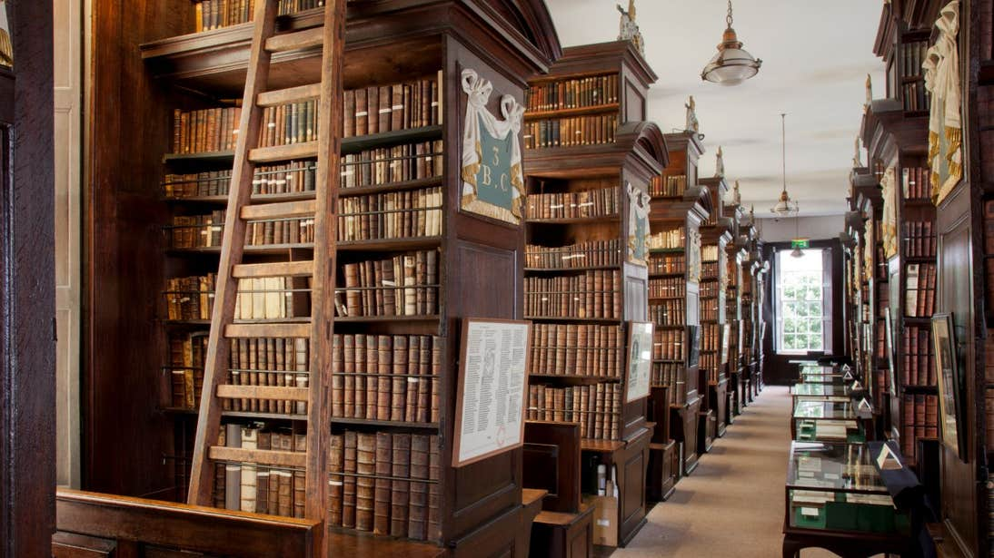 The wooden interior and leather-bound books of Marsh Library in Dublin