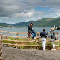 Three walkers enjoying the views from the Carlingford Greenway, County Louth