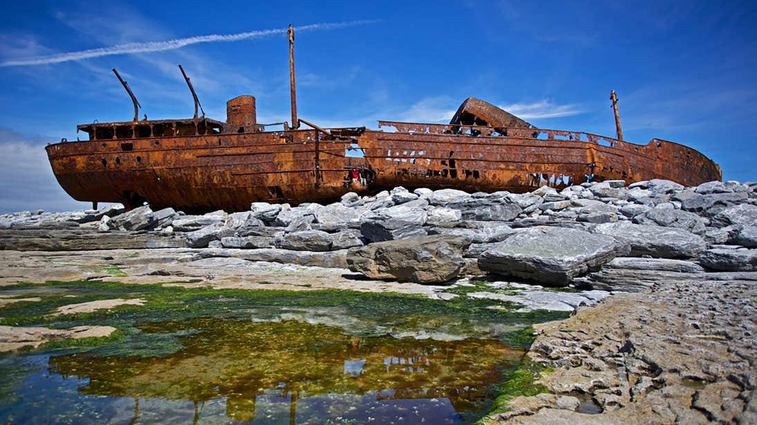 The rusting hull of Plassey Shipwreck on Inisheer, Aran Islands, Galway