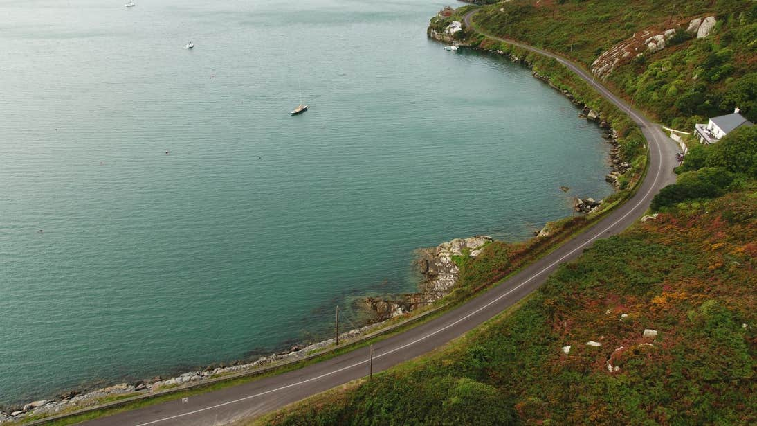Blue water beside land at Sheep's Head, County Cork
