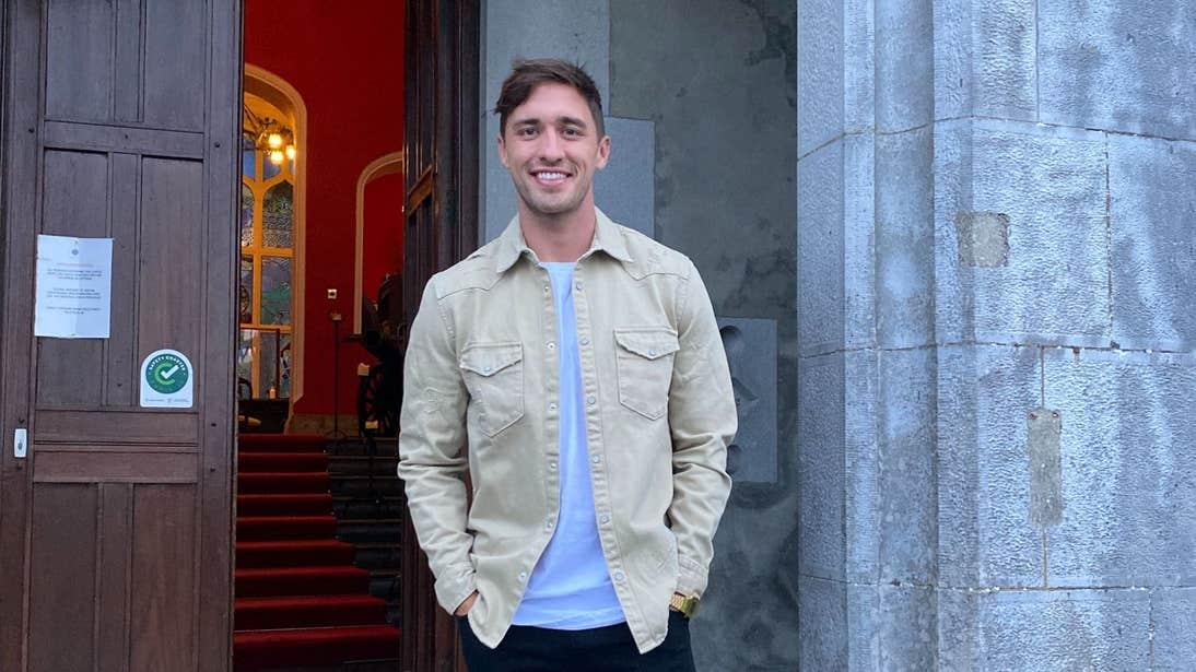 Greg O'Shea standing outside Kinnitty Castle, Offaly