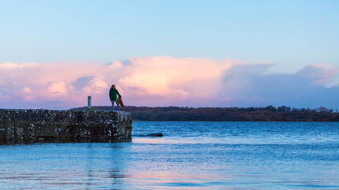 Woman and a dog watching the sunset at Lough Ree in Longford
