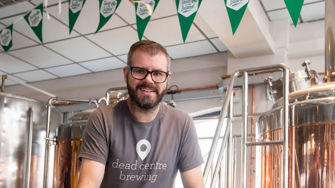 A staff member in the brewery of Dead Centre Brewing, Athlone, Co. Westmeath