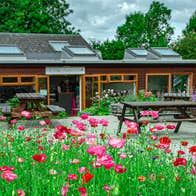 The gift shop and cafe at Brigits Garden with blossoming red flowers in foreground