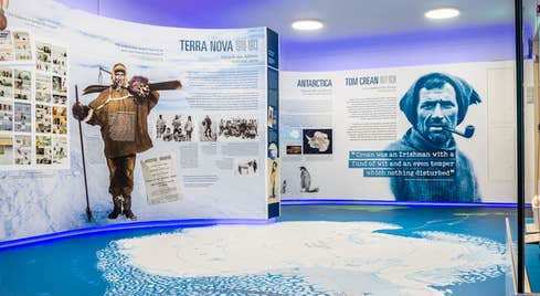 Display panels and exhibits about Tom Crean, the Antarctic explorer, born in Kerry