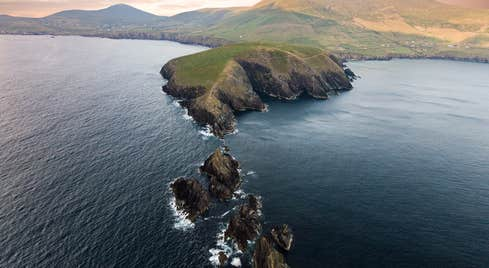 A bird's eye view of the water surrounding Dunmore Head in County Kerry