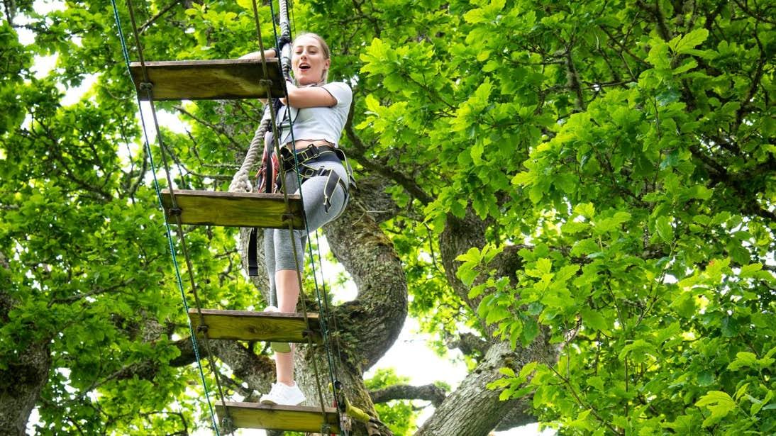 Young girl climbing a wooden bridge in Lough Key, Roscommon