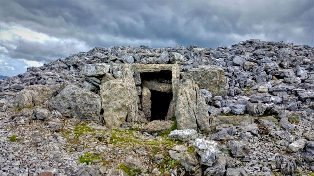 Ancient stone tombs at Carrowkeel, Sligo
