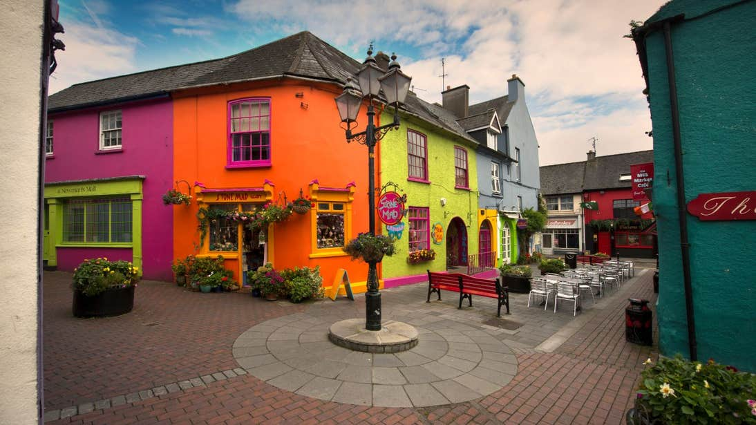 Colourful buildings with outdoor seating in Kinsale, West Cork
