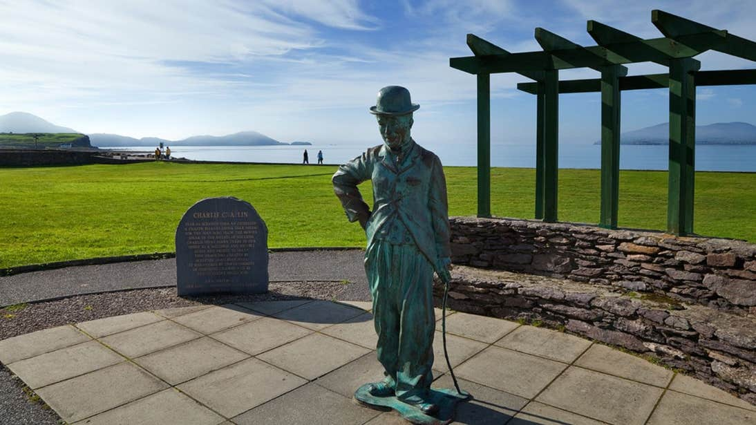 A statue of Charlie Chaplin beside the sea in Waterville, Co. Kerry