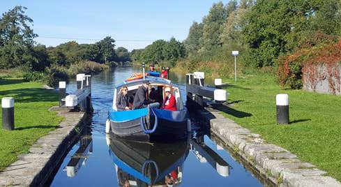 Am image of the barge passing through the lock gates on the canal
