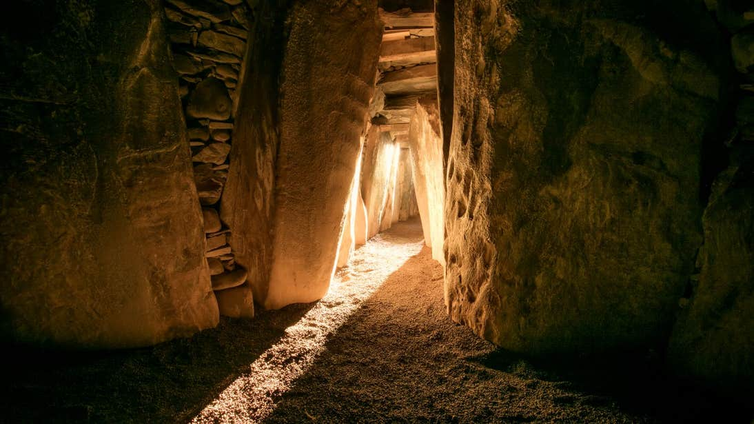 Illuminated passage and chamber during Winter Solstice at Newgrange, Meath