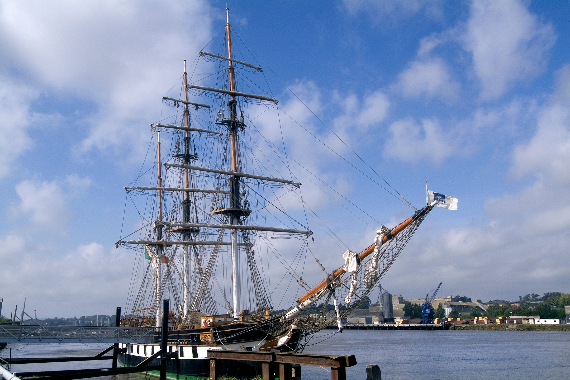 Dunbrody Famine Ship docked at a port in Wexford