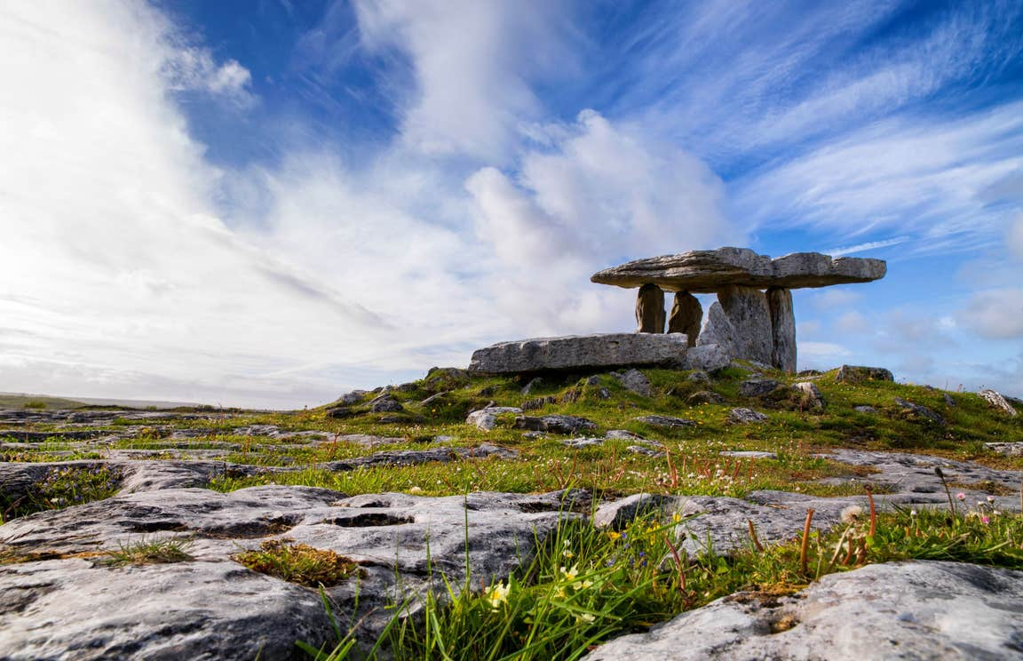 Blue skies above the Burren and Poulnabrone Dolmen, Clare