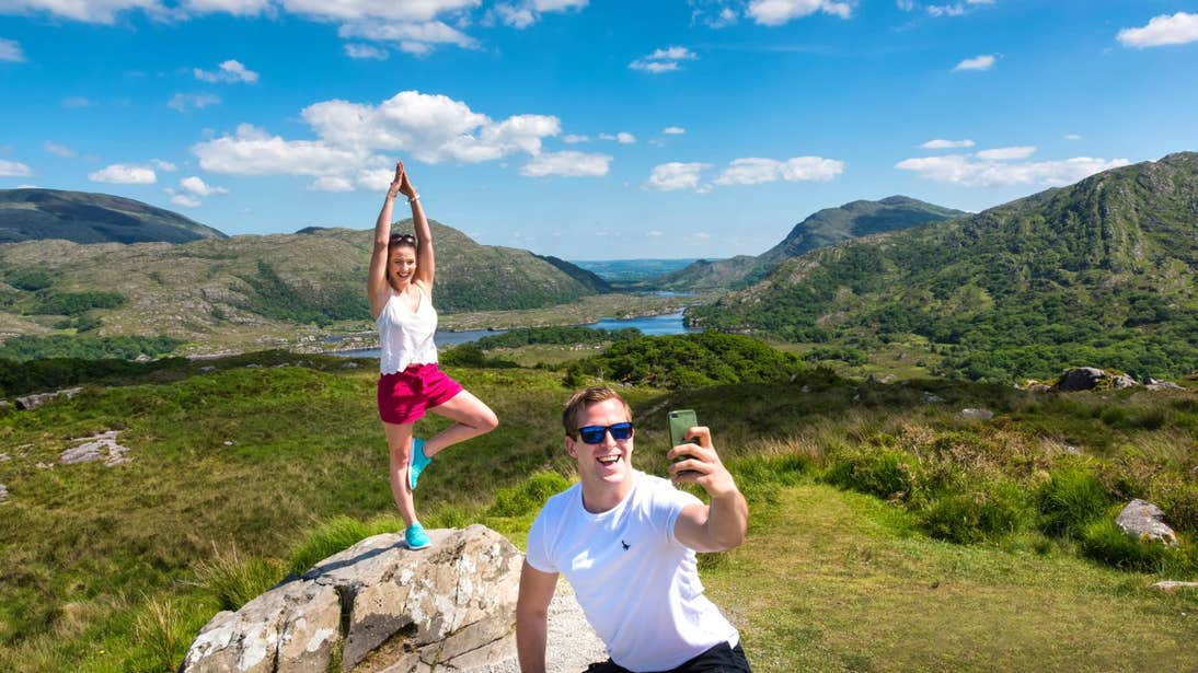 Two people posing for a selfie at Ladies View, Killarney, Co. Kerry