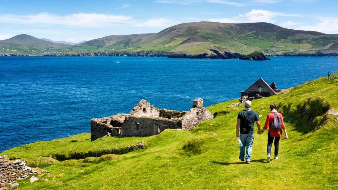 Two people walking on Great Blasket Islands, Co. Kerry