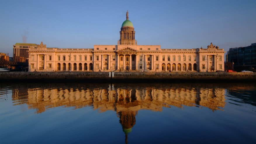 See the impressive Custom House on the edge of the River Liffey.