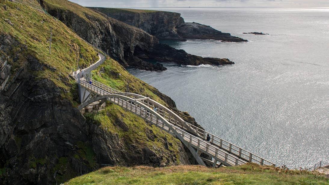 A modern white bridge crossing to Mizen Head in County Cork