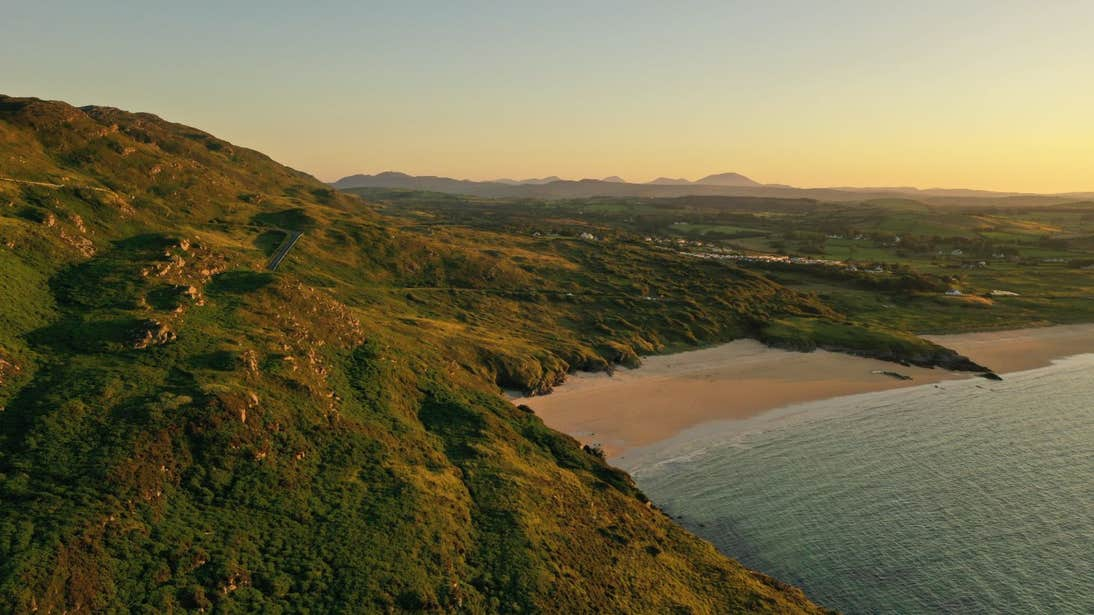 Sunset on the hills at Portsalon Beach, Donegal