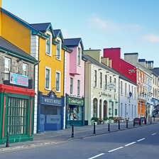 Colourful houses on Lisdoonvarna's Main Street, County Clare