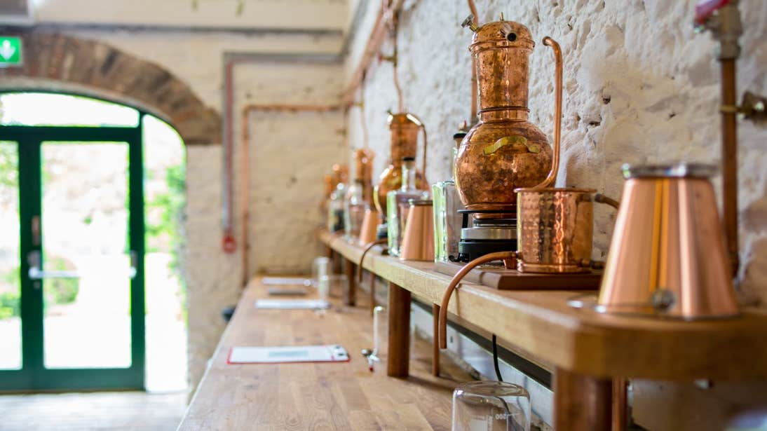 Copper instruments in  Listoke Distillery in Louth