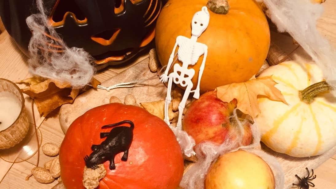 Pumpkins, apples and Halloween decorations
