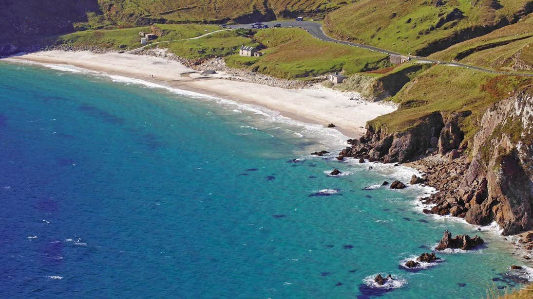 Sunny day and blue water at Keem Bay, Achill