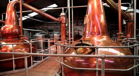 Large copper vats in Dingle Distillery in Kerry