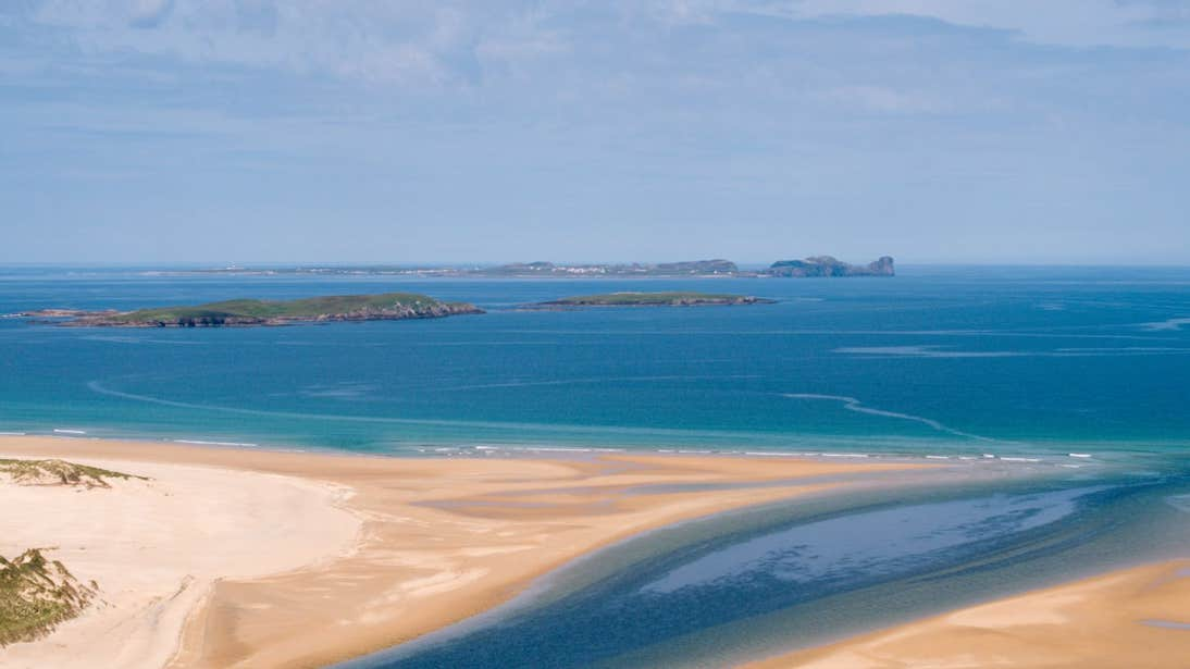 Blue water and golden sand at Tory Island, Co. Donegal