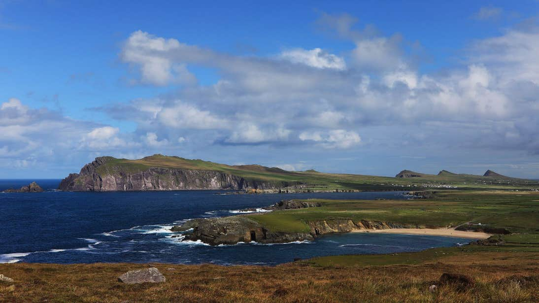 Views of the sea cliffs and a beach in Slea Head, Dingle, Kerry
