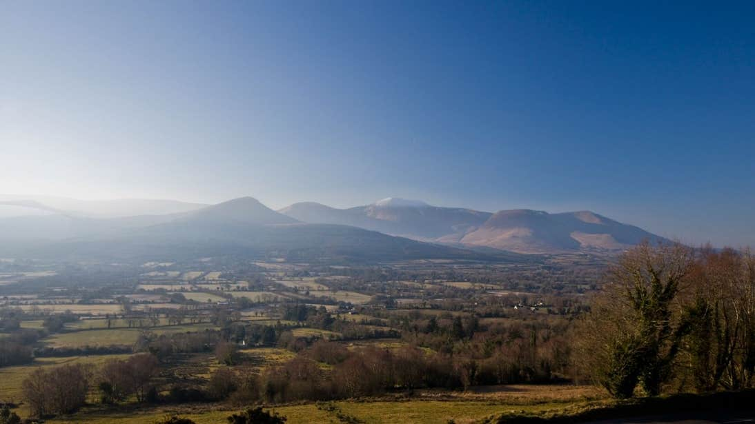 Mountains and fields in the Glen of Aherlow in Tipperary