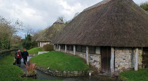 A view of the crannog-shaped Lough Gur Visitor Centre in County Limerick