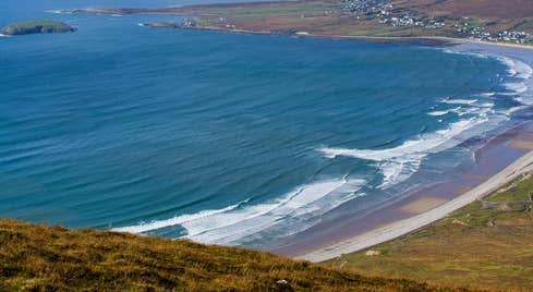 Panoramic view of Keel Bay on Achill Island in County Mayo.