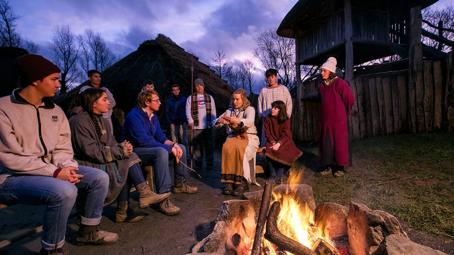 Gather around a campfire at the Irish National Heritage Park.