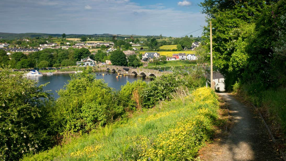 A panoramic view of the arched bridge and buildings in Killaloe