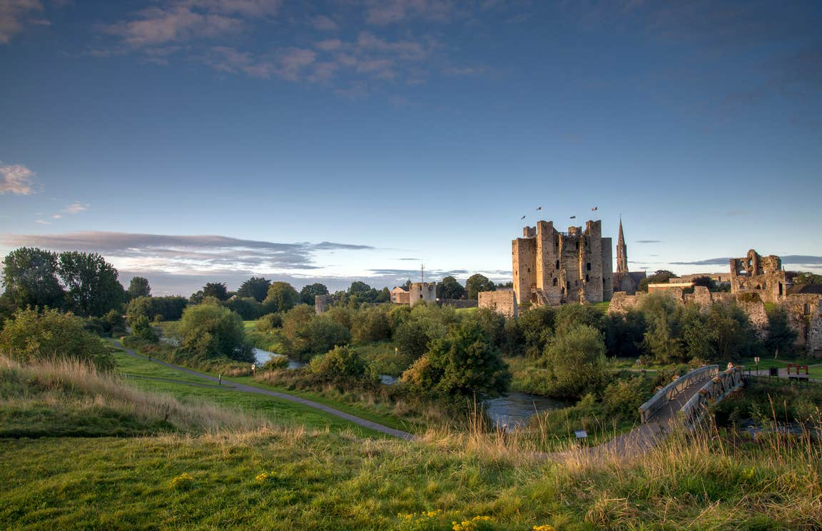 Dusk at Trim Castle in Meath surrounded by green hills